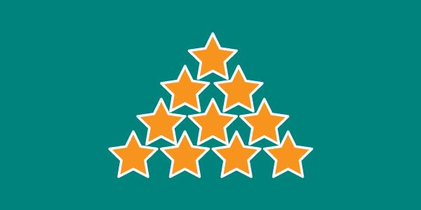 Ny kund handlar: 1 guldstjärna. Blir nöjd och återkommer: 9 guldstjärnor. En vän hör detta och blir en till nöjd kund: 10 guldstjärnor.