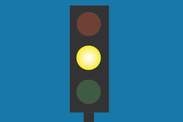 Gult ljus när företag eller leverantör snart levererar kundnytta