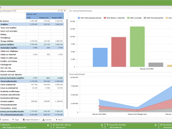Snygg grafik och möjligheten att få en signal när utfallet avviker från budget gör det lätt att konsumera informationen.