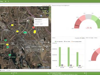 I kartvyn kan du på ett visuellt tilltalande sätt välja vilka enheter du vill se uppgifter för.