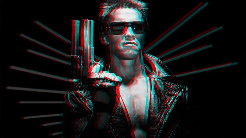 Arnold Schwarzenegger i filmklassikern Terminator från 1984.