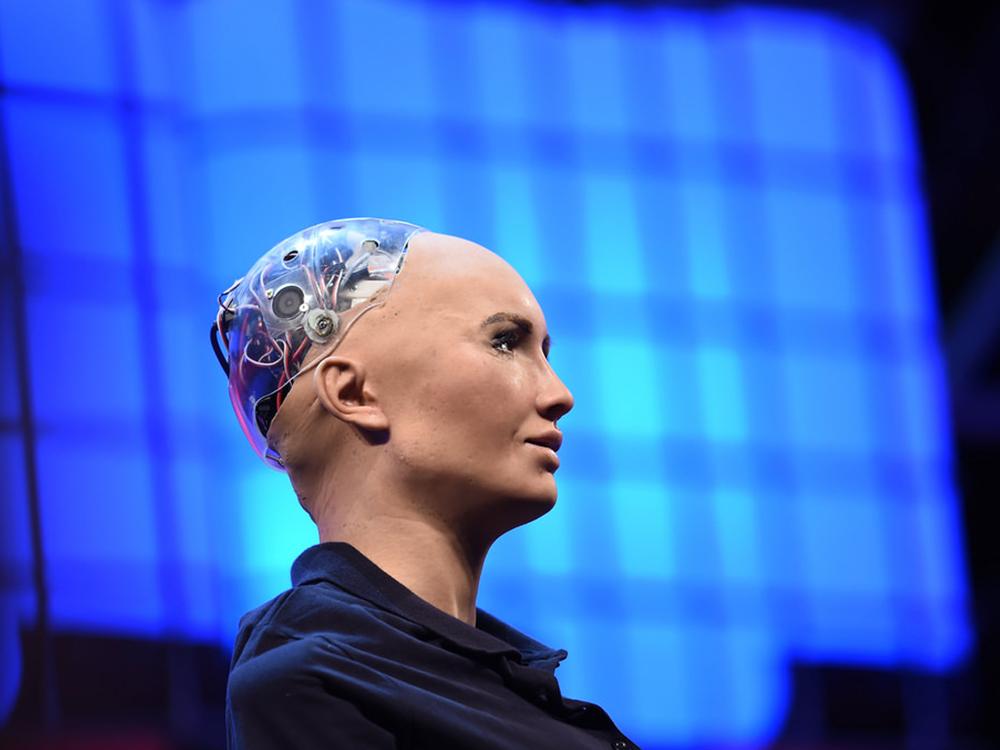 Sophia, skapad av Hanson Robotics och modellerad efter Audrey Hepburn.