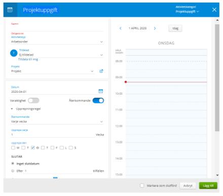 Med vår aktivitetshantering i projektplanen kan ni lägga upp projektuppgifter
