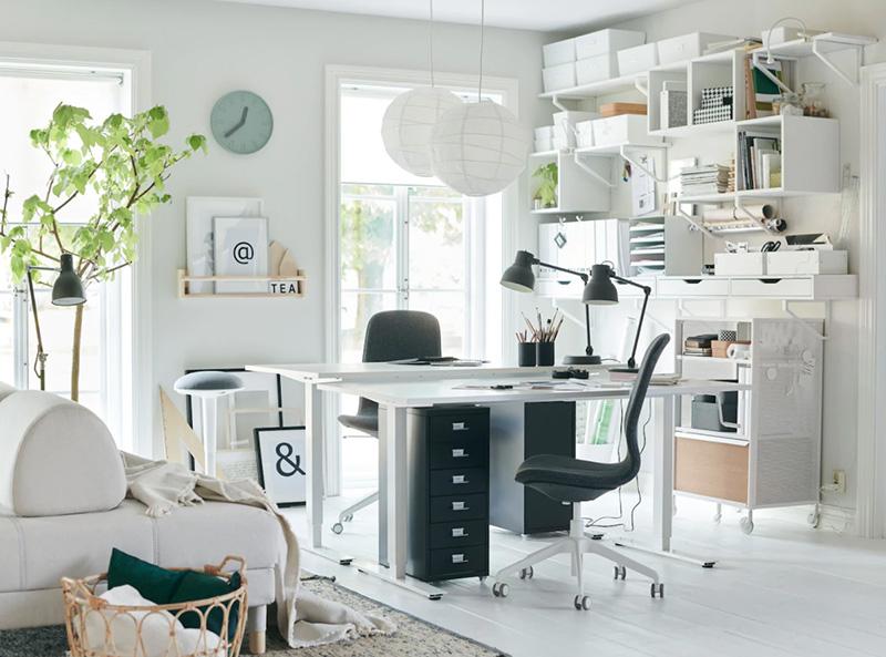 Ordning och reda i hemmakontoret med förvaring från IKEA.