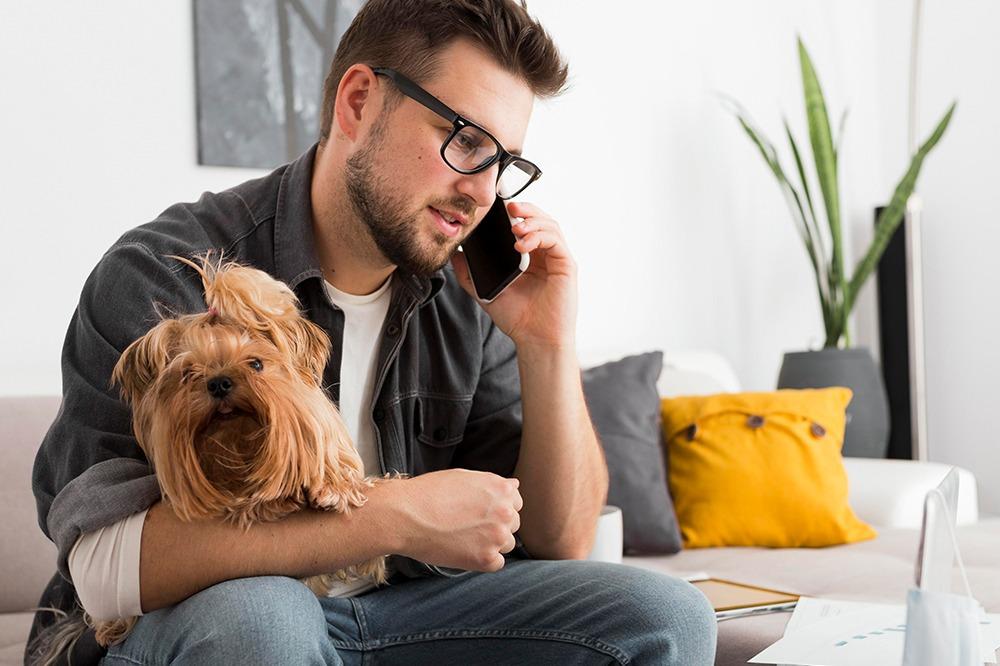 Talar i mobil och arbetar i soffan med hund i knät.